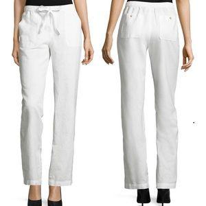 3/$25 LIZ CLAIBORNE PANTS WHITE LINEN COTTON XL